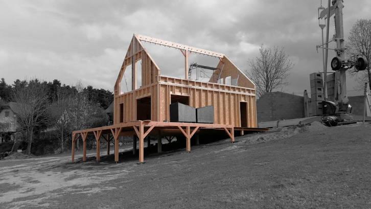 ossature bois maison montagne sur pilotis 2